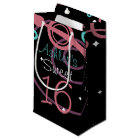 Black With Stars And Swirls Sweet 16 Small Gift Bag