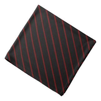 Black with Thin Red Diagonal Stripes Bandana