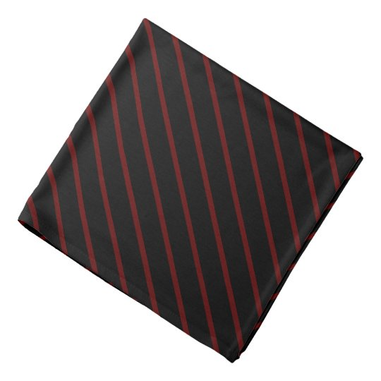 Black with Thin Red Diagonal Stripes Bandana