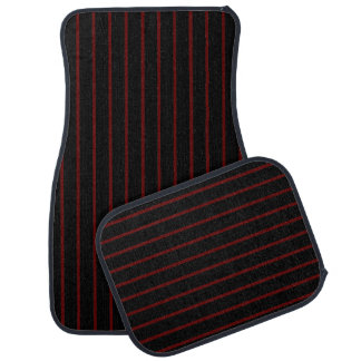 Black with Thin Red Stripes Car Mat Full Set