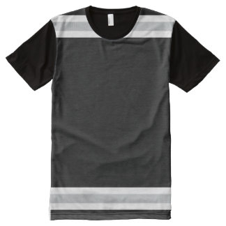 Black with White and Silver Trim All-Over-Print T-Shirt