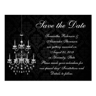Black with White Chandelier Save the Date Postcard