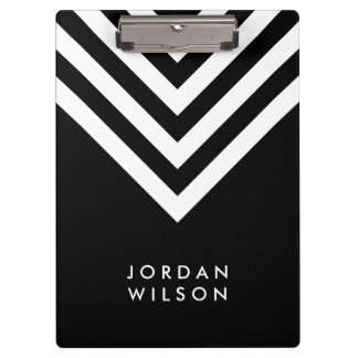 Black with White Chevron Modern Minimalist Clipboard
