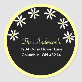 Black with White Daisies Address Labels