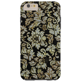 Black With White Diamonds Glitter Floral Damasks Tough iPhone 6 Plus Case