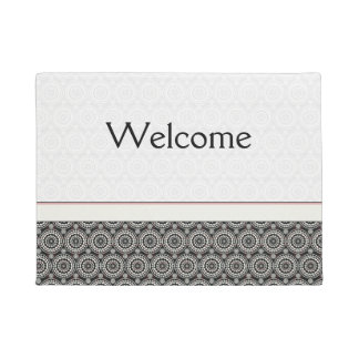 Black With White Lace Rounds Pattern With Border Doormat