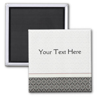 Black With White Lace Rounds Pattern With Border Square Magnet