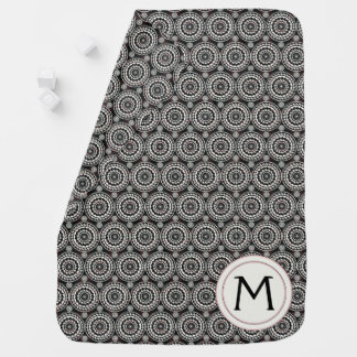 Black With White Lace Rounds Pattern With Initial Baby Blanket