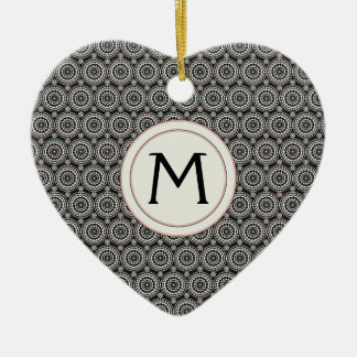 Black With White Lace Rounds Pattern With Initial Ceramic Heart Ornament