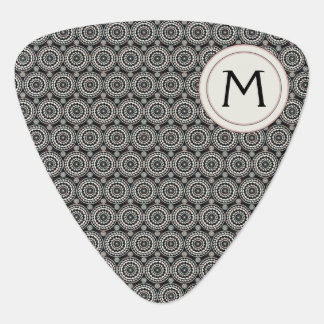 Black With White Lace Rounds Pattern With Initial Guitar Pick