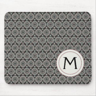 Black With White Lace Rounds Pattern With Initial Mouse Pad