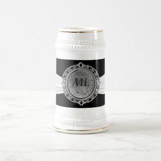 Black With White Ribbon Antique Broach Monogram 18 Oz Beer Stein