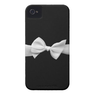 Black with white ribbon iPhone 4 Case-Mate case