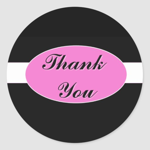 Black with White Stripe and Hot Pink Thank You Round Sticker