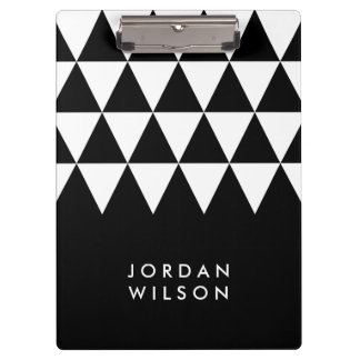 Black with White Triangle Modern Minimalist Clipboard