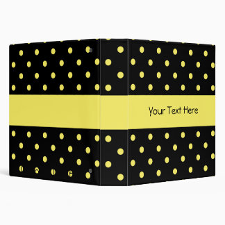 Black with Yellow Polka Dots Binder