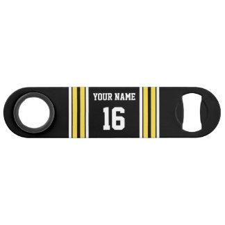 Black with Yellow White Stripes Team Jersey Bar Key