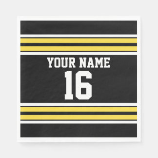 Black with Yellow White Stripes Team Jersey Paper Napkin