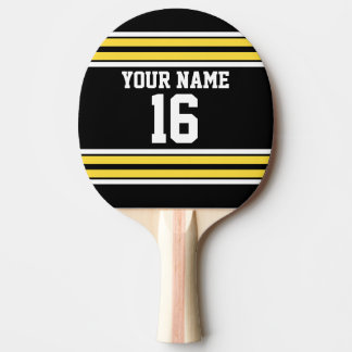 Black with Yellow White Stripes Team Jersey Ping Pong Paddle