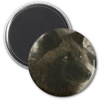 Black Wolf 2 Inch Round Magnet