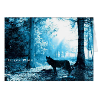 Black Wolf Alone in the Forest Card