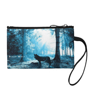 Black Wolf Alone in the Forest Coin Wallet