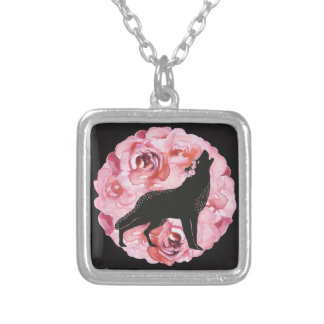Black Wolf and Pink Roses Necklace