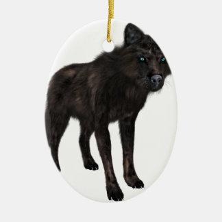 Black Wolf Ceramic Ornament