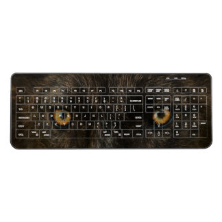 Black Wolf Eyes Wireless Keyboard