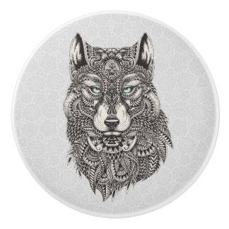 Black Wolf Head Abstract Illustration Ceramic Knob
