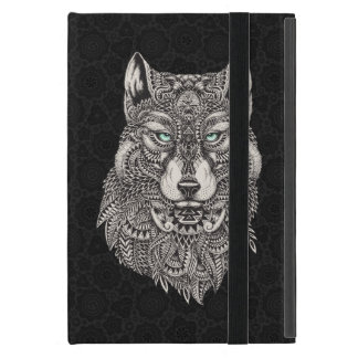 Black Wolf Head Ornate Illustration Case For iPad Mini