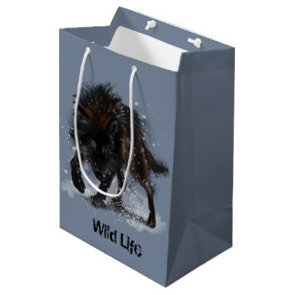 Black wolf medium gift bag