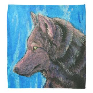 Black Wolf on Blue Bandana