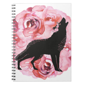 Black Wolf with Pink Roses White Notebook