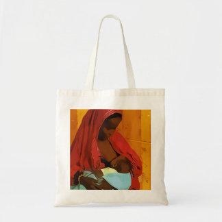 black woman breast-feeding child budget tote bag