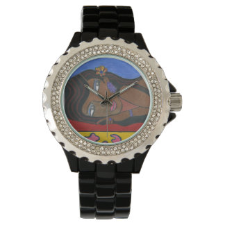 Black Woman Custom Rhinestone Black Enamel Watch