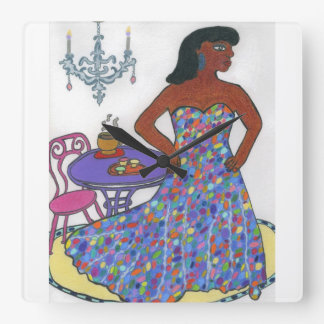 Black Woman Square Wall Clock