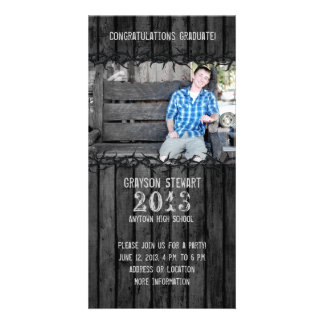 Black Wood Country Graduation Photo Announcement Customized Photo Card