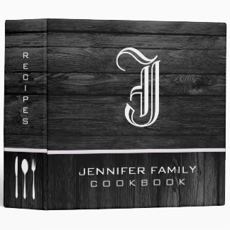 Black Wood Family Recipes Monogram Vinyl Binder