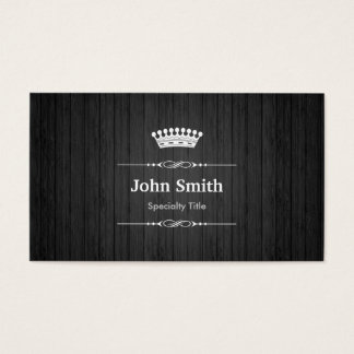 Black Wood Grain Royal Crown Double Sided Business Card
