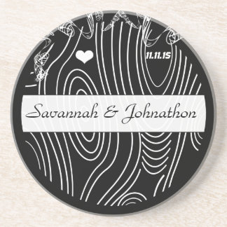 Black Wood Grain Tree Save the Date Coaster