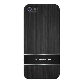 Black Wood Look with Silver Metal Leather Label | iPhone 5/5S Cover