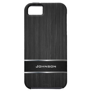 Black Wood Look with Silver Metal Leather Label | iPhone 5 Cases