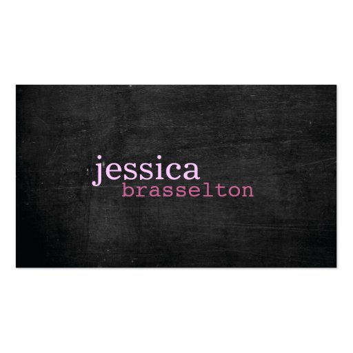 Black Wood Pink Typography Business Card