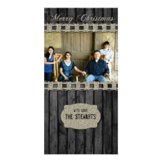 Black Wood Silver Country Photo Christmas Card Custom Photo Card