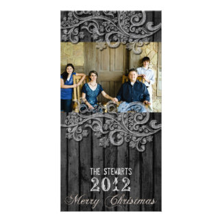 Black Wood Silver Country Photo Christmas Card Photo Card Template