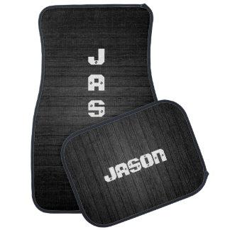 Black Wood With White Personalized Names Car Floor Carpet
