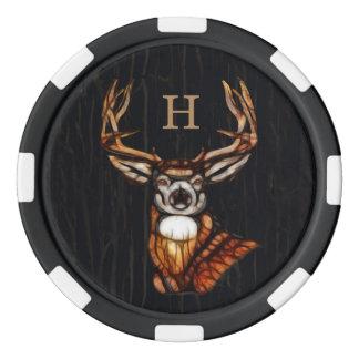 Black Wooden Wood Deer Rustic Country Monogram Poker Chips