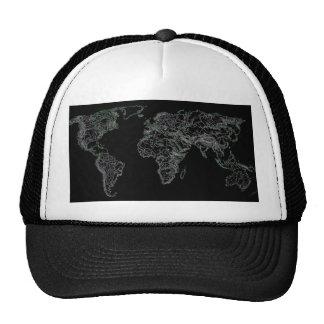 Black world atlas trucker hat