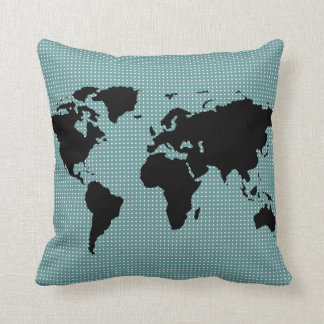 black world map and polka dots throw pillow